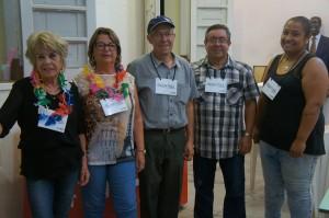 Consuelo, Sandra, Eginio, Joaãozinho, Tatiane. Equipe do bar de Santa Thereza.