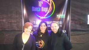 Eva Schul, convidada especial do Dança Bagé, Anacarla Flores e Alex Neoral, diretor da Focus Cia de Dança